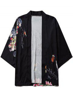 Bamboo Butterfly Floral Paint Kimono Cardigan - Black Xl