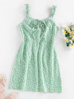 ZAFUL Ditsy Print Bowknot Keyhole Lettuce Strap Dress - Pale Blue Lily S