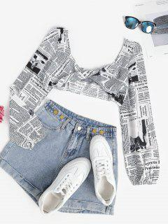Newspaper Print Twist Front Crop Top - White S