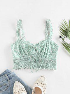 ZAFUL Ditsy Print Ruffle Smocked Bowknot Tank Top - Light Green S