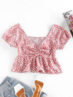 ZAFUL Ditsy Print Smocked Cinched Peplum Blouse - Rosy Brown S