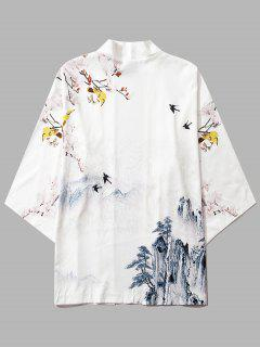 Mountain Flower Bird Landscape Kimono Cardigan - Milk White M