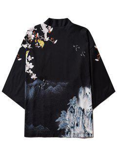 Mountain Flower Bird Landscape Kimono Cardigan - Black 2xl