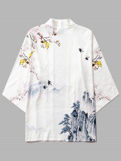 Mountain Flower Bird Landscape Kimono Cardigan - Milk White S