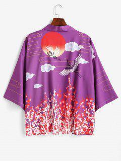 Sonnen Kran Blumendruck Offener Vorder Kimono - Lila M