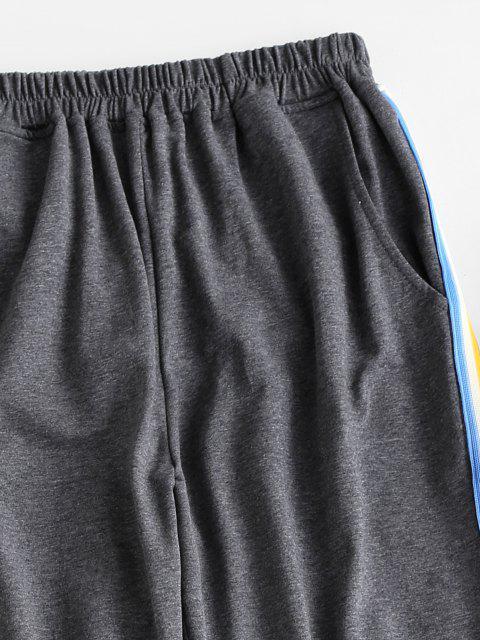 Seite Gestreifte Joggerhose mit Seitenstreifen - Grau S Mobile