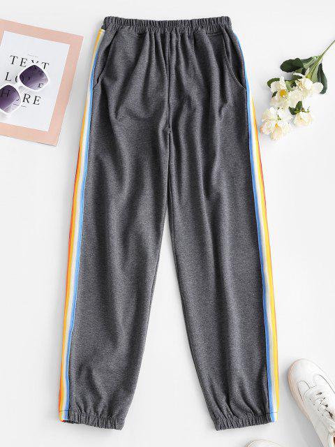 Pantaloni da Jogging a Righe Laterali - Grigio L Mobile