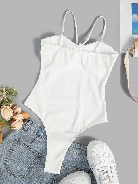 womens Padded Cups Snap Crotch Bustier Bodysuit - WHITE S Mobile