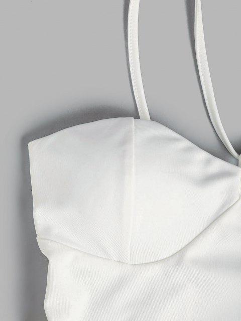 unique Padded Cups Snap Crotch Bustier Bodysuit - WHITE L Mobile
