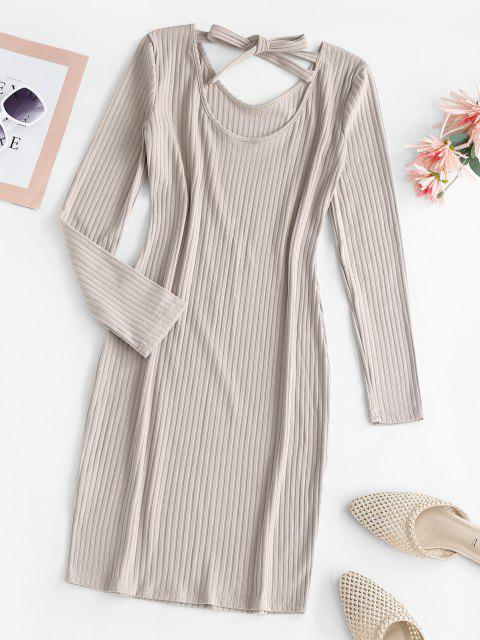 fashion Ribbed Tie Back Long Sleeve Bodycon Dress - LIGHT COFFEE M Mobile