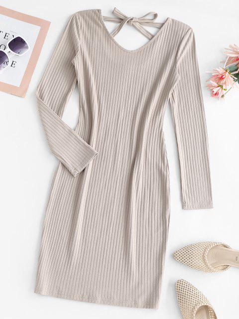 chic Ribbed Tie Back Long Sleeve Bodycon Dress - LIGHT COFFEE S Mobile