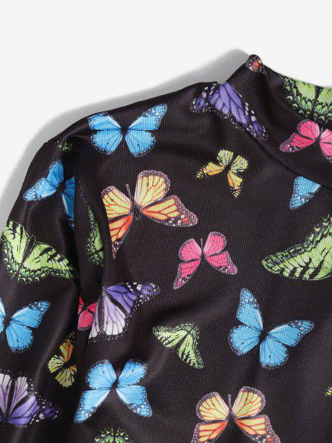 hot Mock Neck Butterfly Print Back Tie Crop Top - MULTI L Mobile