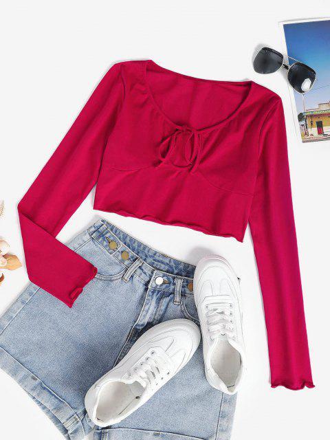 T-shirt à Epaule Nouée à Ourlet en Laitue pour Bébé - Rouge S Mobile