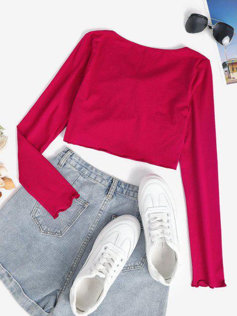 T-Shirt Annodata con Taglio Ondulato - Rosso M Mobile