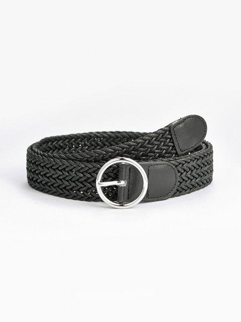 hot Round Pin Buckle Braid Belt - BLACK  Mobile