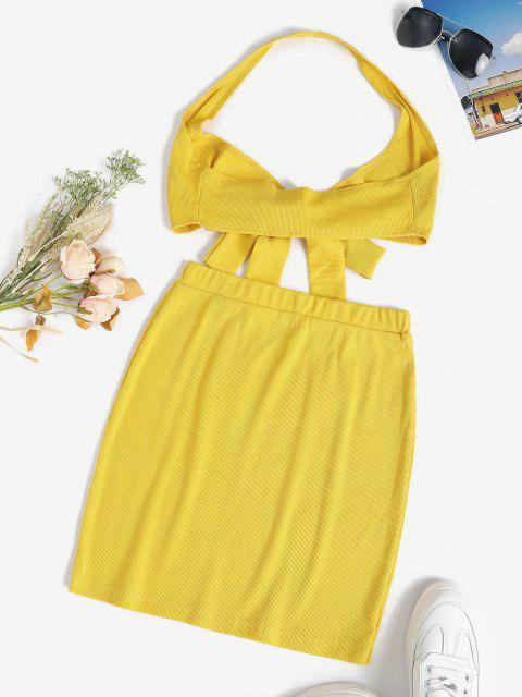 shops Halter Rib-knit Tie Front Slinky Two Piece Dress - YELLOW S Mobile