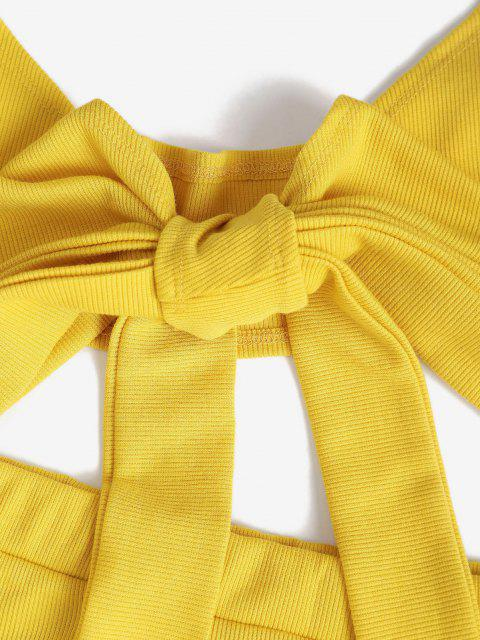 chic Halter Rib-knit Tie Front Slinky Two Piece Dress - YELLOW L Mobile