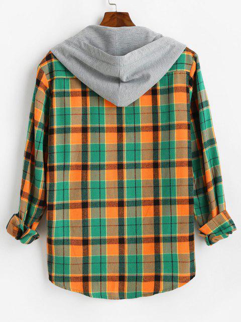 hot Hooded Plaid Print High Low Shirt - ORANGE M Mobile
