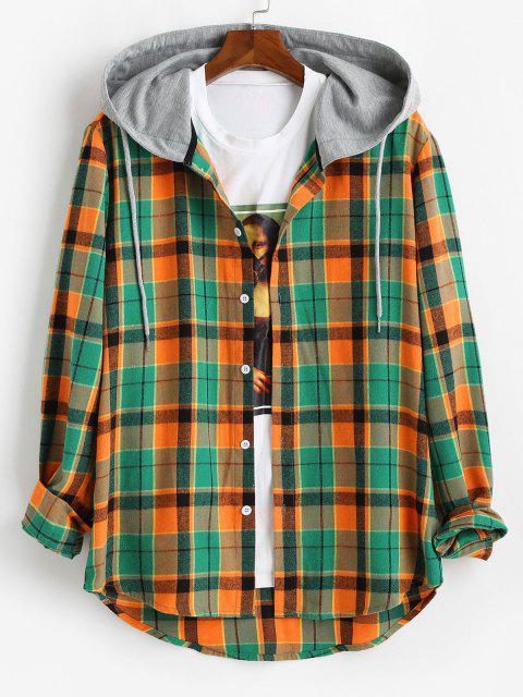 shop Hooded Plaid Print High Low Shirt - ORANGE L Mobile