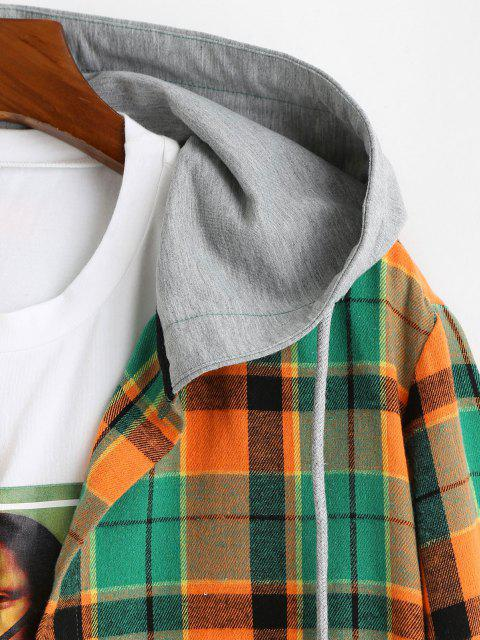 chic Hooded Plaid Print High Low Shirt - ORANGE S Mobile