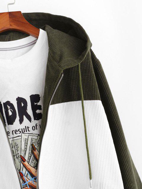 Veste à Capuche Contrastée en Velours Côtelé à Cordon - Vert profond 2XL Mobile