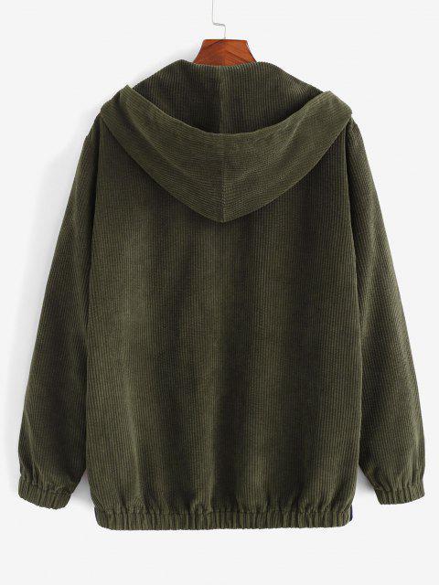 affordable Hooded Drawstring Contrast Corduroy Jacket - DEEP GREEN M Mobile