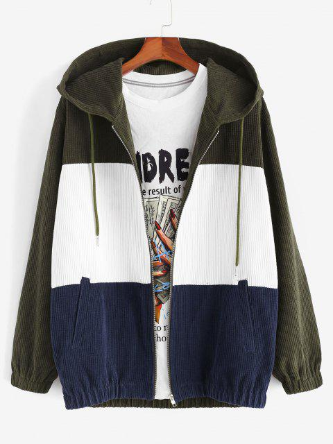 Hooded Drawstring Contrast Corduroy Jacket - ديب غرين S Mobile
