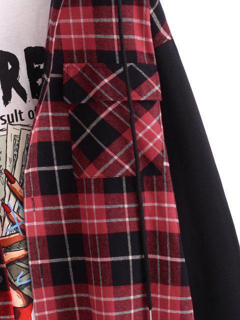 Veste à Capuche à Carreaux Imprimée Boutonnée avec Poche - Rouge foncé L Mobile