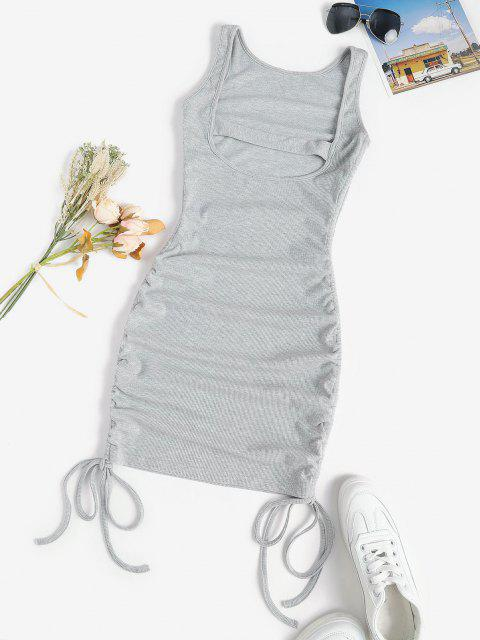 new Rib-knit Cinched Ruched Slinky Backless Bodycon Tank Dress - LIGHT GRAY M Mobile