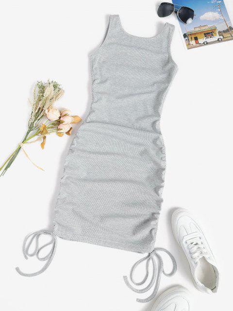 ladies Rib-knit Cinched Ruched Slinky Backless Bodycon Tank Dress - LIGHT GRAY L Mobile