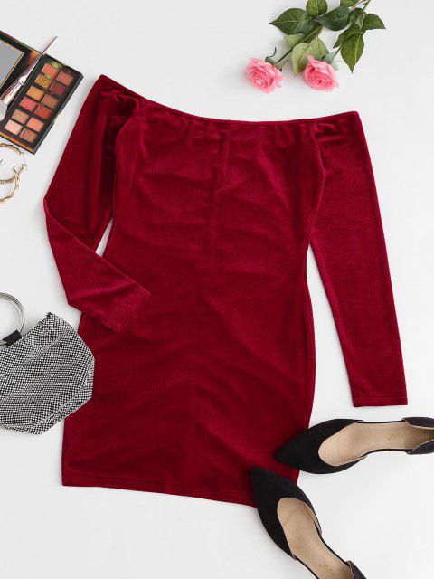 new ZAFUL Off The Shoulder Velvet Ruched Bodycon Dress - RUBY RED S Mobile
