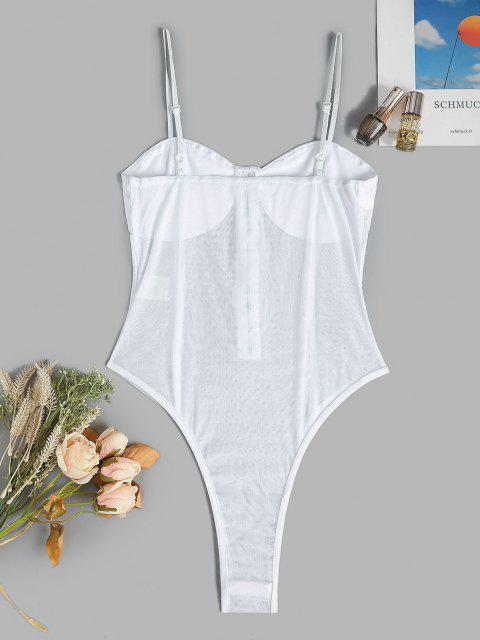 Body Lingerie Au Crochet en Maille - Blanc Taille Unique Mobile