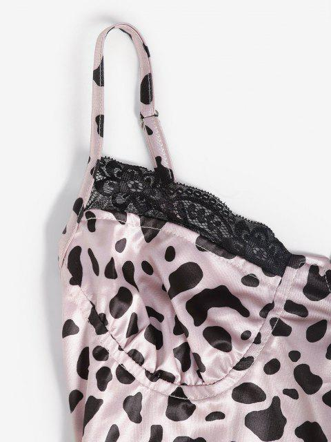 best Leopard Slinky Lace Trim Bodycon Slip Bustier Dress - LIGHT PINK M Mobile