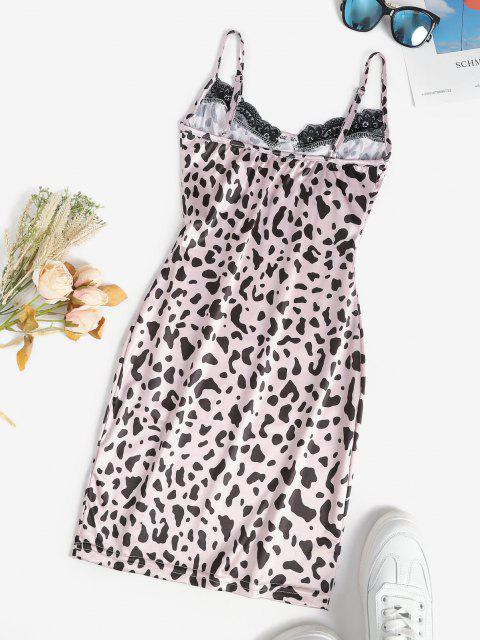fashion Leopard Slinky Lace Trim Bodycon Slip Bustier Dress - LIGHT PINK L Mobile