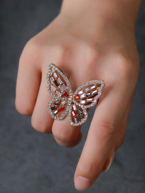 Rhinestone Butterfly Hollow Open Ring - متعددة-A  Mobile