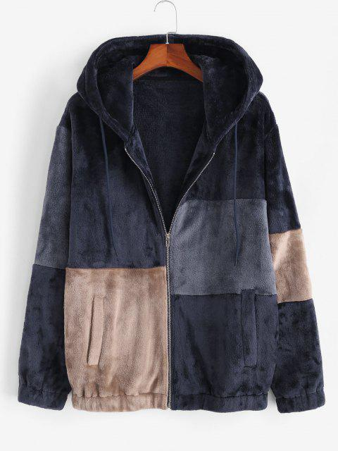 Hooded Zip Up Contrast Fluffy Jacket - ازرق غامق XL Mobile