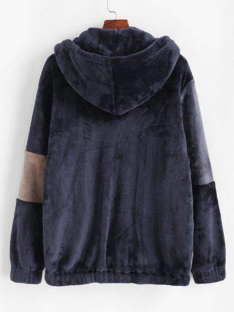 unique Hooded Zip Up Contrast Fluffy Jacket - DEEP BLUE XL Mobile