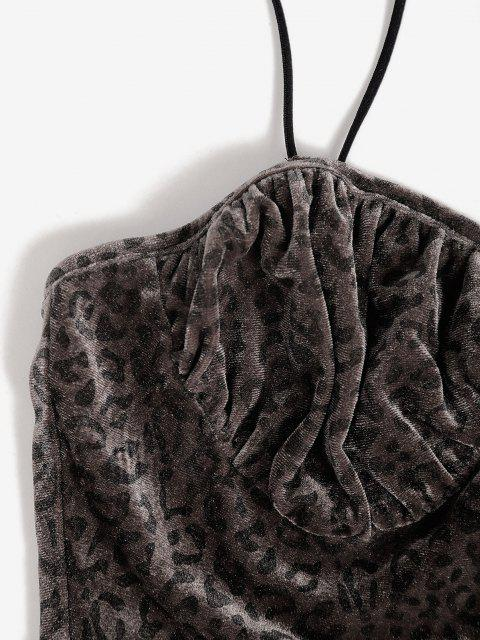 chic Leopard Velvet Ruched Two Piece Skirt Set - DEEP COFFEE L Mobile