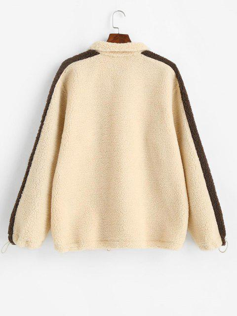 unique Letter Embroidery Colorblock Teddy Jacket - LIGHT YELLOW L Mobile