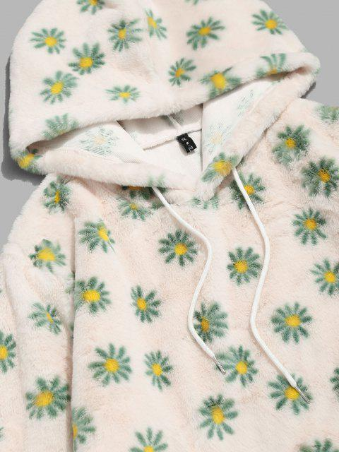 trendy Fluffy Daisy Pattern Hoodie - LIGHT YELLOW L Mobile