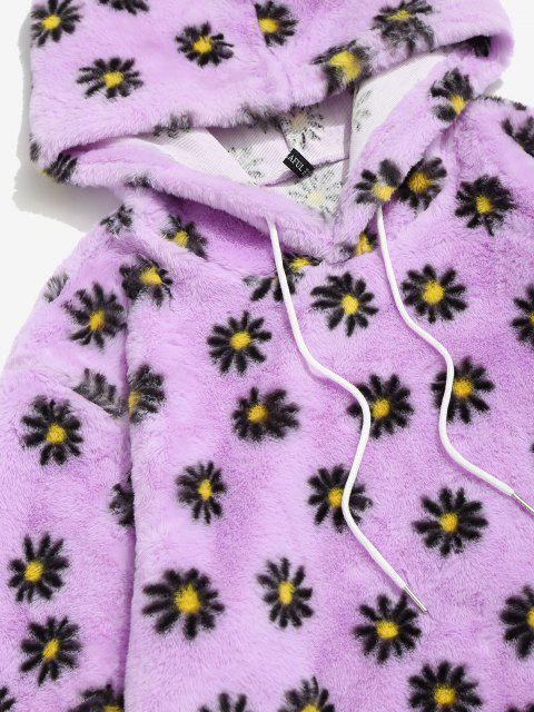 unique Fluffy Daisy Pattern Hoodie - LIGHT PURPLE L Mobile