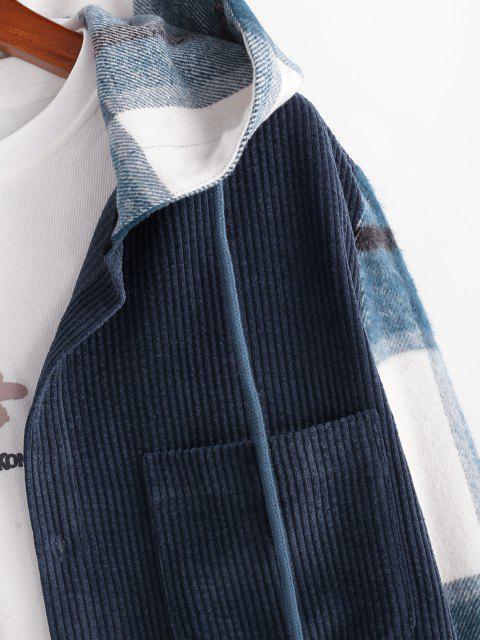 sale Hooded Plaid Print Button Up Corduroy Jacket - DEEP BLUE M Mobile