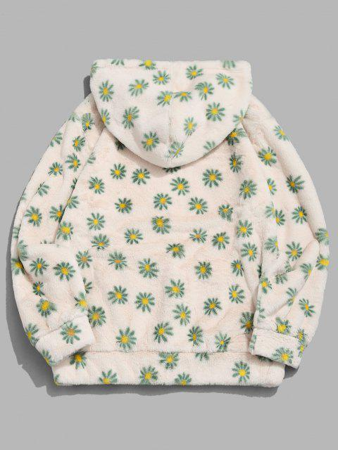 buy Fluffy Daisy Pattern Hoodie - LIGHT YELLOW S Mobile