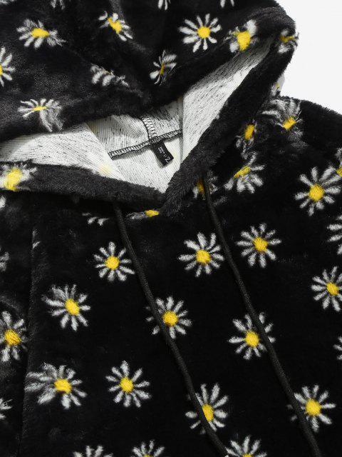 shop Fluffy Daisy Pattern Hoodie - BLACK L Mobile