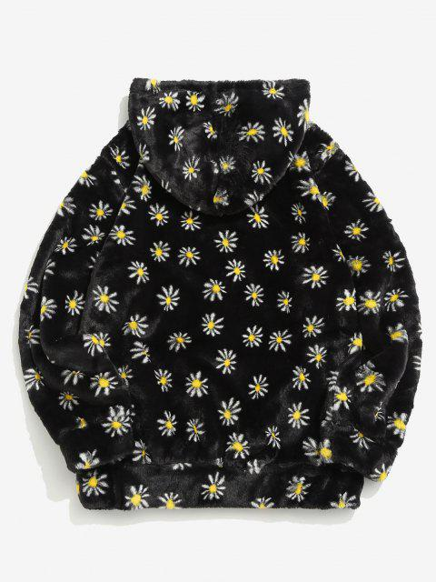 best Fluffy Daisy Pattern Hoodie - BLACK XL Mobile