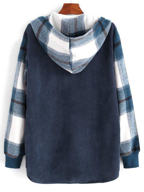 hot Hooded Plaid Print Button Up Corduroy Jacket - DEEP BLUE 2XL Mobile
