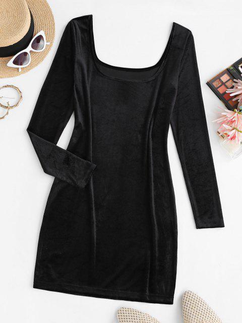 hot U Neck Velvet Sheath Long Sleeve Dress - BLACK L Mobile