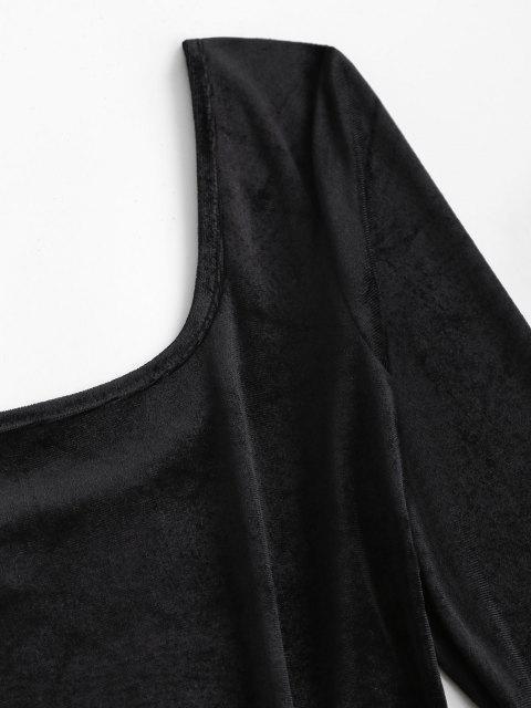 shop U Neck Velvet Sheath Long Sleeve Dress - BLACK M Mobile