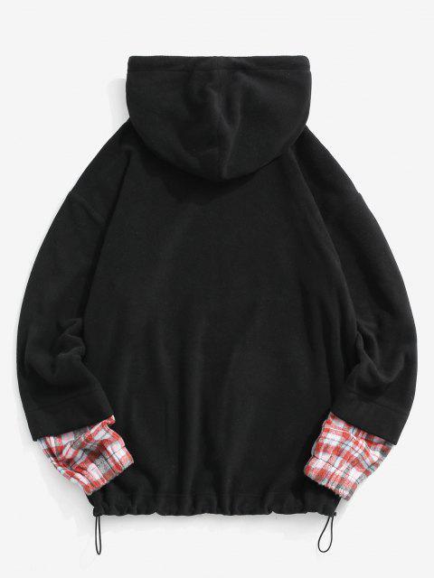 Buchstabe Gestickter Karierter Muster Vlies Hoodie - Schwarz S Mobile