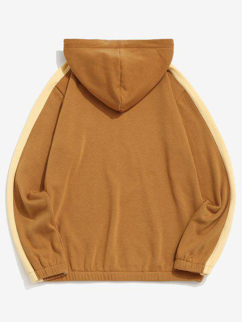 affordable Letter Patch Plush Colorblock Hoodie - DEEP YELLOW L Mobile